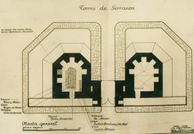 Salvaguarda del Tesoro Artístico Nacional durante la Guerra Civil española · Plano de las obras de acondicionamiento de las Torres de Serranos · Valencia