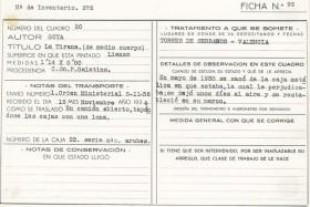 Salvaguarda del Tesoro Artístico Nacional durante la Guerra Civil española · Fichas de obras del Museo del Prado trasladadas a Valencia